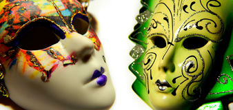 Beautiful masquerade masks isolated. In collage royalty free stock images