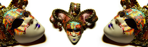 Beautiful masquerade masks isolated. In collage royalty free stock photo