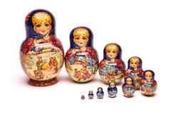 Beautiful matryoshka russian doll. Beautiful nesting doll handmade on a white background Royalty Free Stock Photo