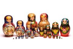 Beautiful matryoshka russian doll. Beautiful nesting doll handmade on a white background Stock Photos