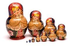 Beautiful matryoshka russian doll. Beautiful nesting doll handmade on a white background Royalty Free Stock Image