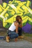 Beautiful Mature Black Woman with Graffiti (13) Royalty Free Stock Images