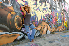 Beautiful Mature Black Woman with Graffiti (2) Stock Photos