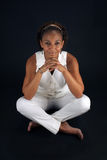 Beautiful Mature Black Woman Sitting (2) Stock Image