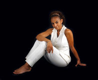 Beautiful Mature Black Woman Sitting (3) Stock Photography