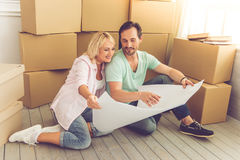 Beautiful mature couple moving Stock Photography