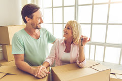 Beautiful mature couple moving Royalty Free Stock Images