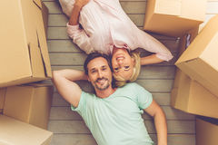 Beautiful mature couple moving Stock Images