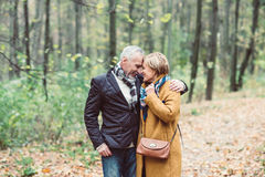 Beautiful mature couple in park Royalty Free Stock Photography