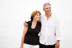 Beautiful mature couple taking a walk royalty free stock photos