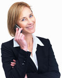 Beautiful mature female lawyer talking on mobile Stock Images