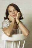 Beautiful mature woman. Portrait on background Royalty Free Stock Photo