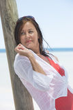 Beautiful mature woman beach vacation Royalty Free Stock Images