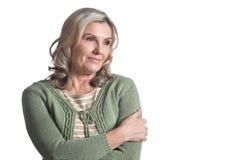 Beautiful mature woman. Posing isolated on white background Stock Image