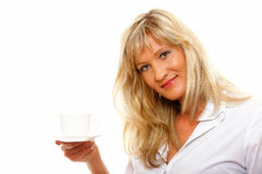 Beautiful woman drinking Tea or Coffee. Beautiful mature woman drinking tea or coffee. Cup of Hot Beverage. white background Royalty Free Stock Photography