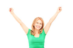 Beautiful mature woman gesturing happiness. Isolated on white background Stock Photos