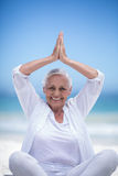 Beautiful mature woman posing with hands joined Royalty Free Stock Images