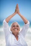 Beautiful mature woman posing with hands joined Royalty Free Stock Photo