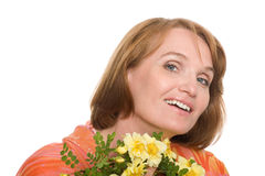 Beautiful mature woman smiling Stock Photos