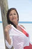 Beautiful mature woman tropical vacation Royalty Free Stock Images