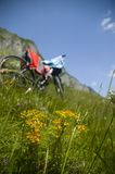 Beautiful meadow with bicycle and clothes Royalty Free Stock Images