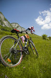 Beautiful meadow with bicycle and socks. Biking in Flax's Meadow in Postavaru Mountains, Romania royalty free stock photography