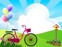 Beautiful meadow. Illustration of landscape with flowers,clouds,and bike Stock Photo
