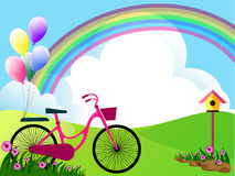 Beautiful meadow. Illustration of landscape with flowers,clouds,bike and balloons Stock Photo