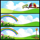 Beautiful meadow. Illustration of landscape with flowers,clouds,rainbow and birds Stock Photos