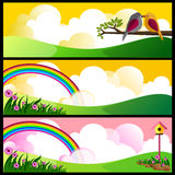 Beautiful meadow. Illustration of landscape with flowers,clouds,rainbow and birds Royalty Free Stock Photography