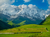 Beautiful meadow landscape near Ushguli, Svaneti, Georgia. Royalty Free Stock Photo