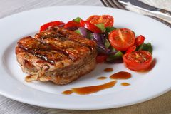 Beautiful medallion of pork with vegetables, horizontal Royalty Free Stock Photography
