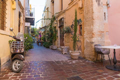 Beautiful mediaval streets of Chania, Crete island, Greece Stock Images