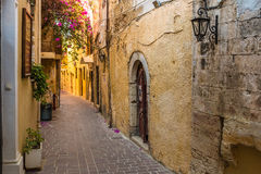 Beautiful mediaval streets of Chania, Crete island, Greece Royalty Free Stock Images
