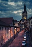 Beautiful medieval architecture with the Evangelical Church in background in Sibiu, Romania.  Royalty Free Stock Images