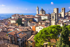 Beautiful medieval Bergamo, Lombardy, royalty free stock photos