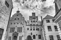 Beautiful medieval buildings of Riga, Latvia. The three brothers Stock Photography