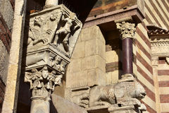 Beautiful medieval capitals from Verona Cathedral side portal Royalty Free Stock Photos