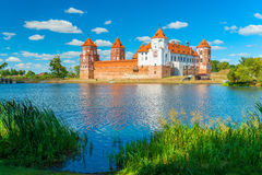 Beautiful medieval castle and a lake in Belarus Royalty Free Stock Photo