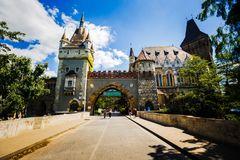 Beautiful medieval castle on the lakefront. City Park of Budapest Hungary stock photography