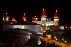 Beautiful medieval castle at night Royalty Free Stock Photo