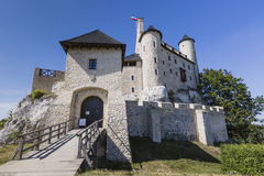 Beautiful medieval castle at sunny day over blue sky, Bobolice, Royalty Free Stock Photo