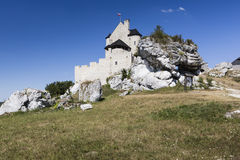 Beautiful medieval castle at sunny day over blue sky, Bobolice, Royalty Free Stock Photos