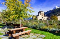 Beautiful medieval castle of Valle d'Aosta - Sarriod de La Tour, Stock Images