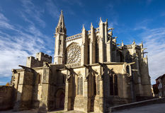 Beautiful medieval cathedral in Carcassonne Royalty Free Stock Photos