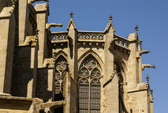 Beautiful medieval cathedral in Carcassonne. Sunny day. Royalty Free Stock Photo