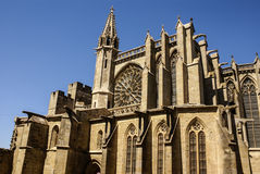 Beautiful medieval cathedral in Carcassonne. Sunny day. Royalty Free Stock Photos