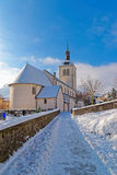 Beautiful medieval church near Gruyere castle Stock Photo