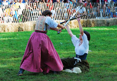 Beautiful Medieval Girl fight Royalty Free Stock Image
