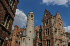 Beautiful medieval houses in the Flemish part of Belgium royalty free stock photography